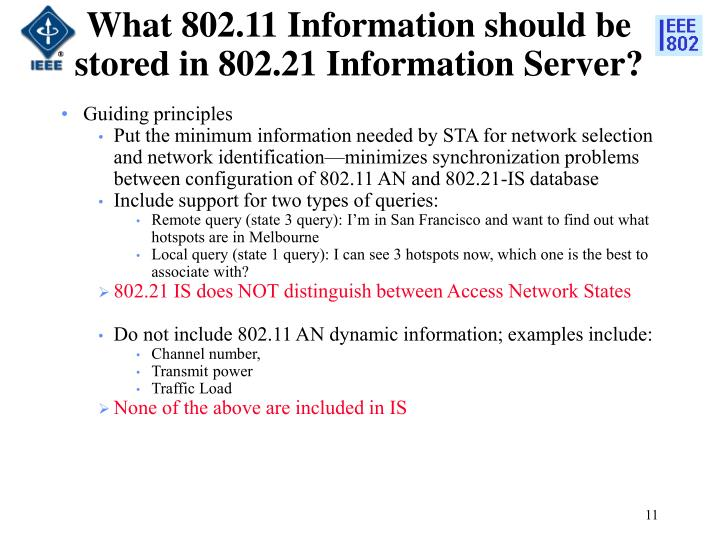 What 802.11 Information should be stored in 802.21 Information Server?