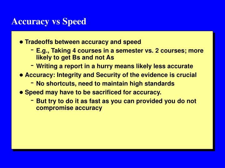 Accuracy vs Speed