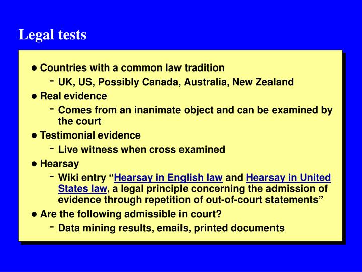 Legal tests
