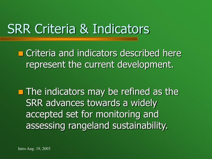 SRR Criteria & Indicators