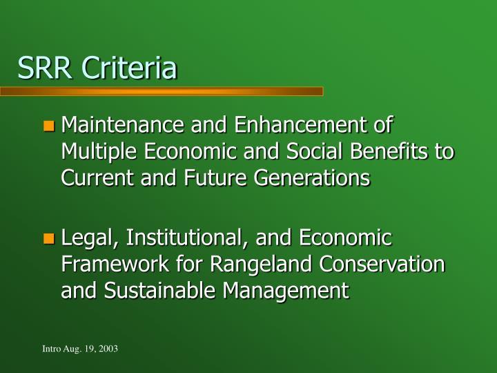 SRR Criteria