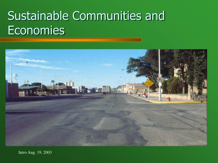 Sustainable Communities and Economies