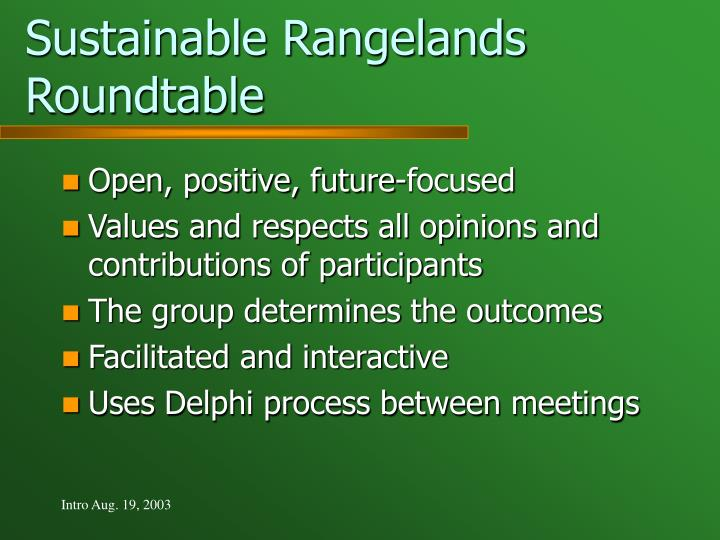 Sustainable Rangelands Roundtable