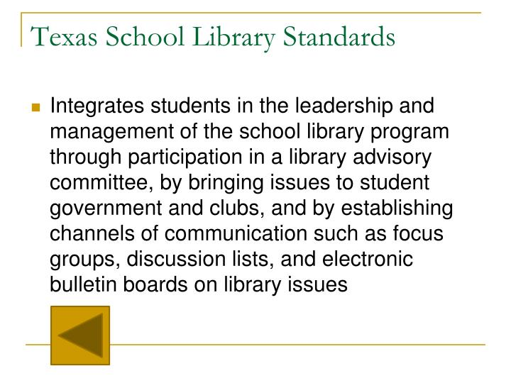Texas School Library Standards