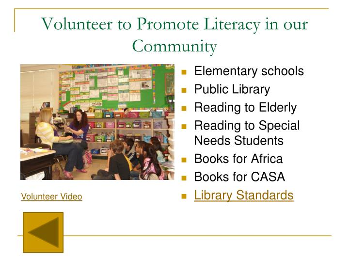 Volunteer to Promote Literacy in our Community