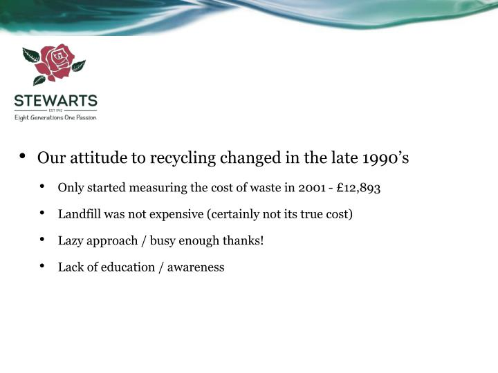Our attitude to recycling changed in the late 1990's