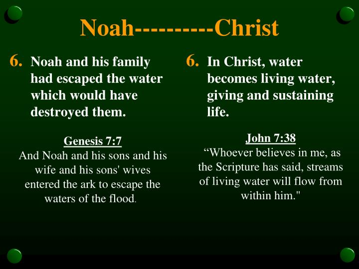Noah and his family had escaped the water which would have destroyed them.