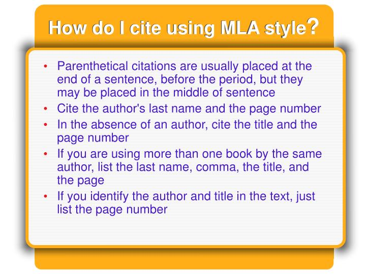 How do I cite using MLA style