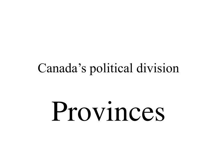 Canada's political division