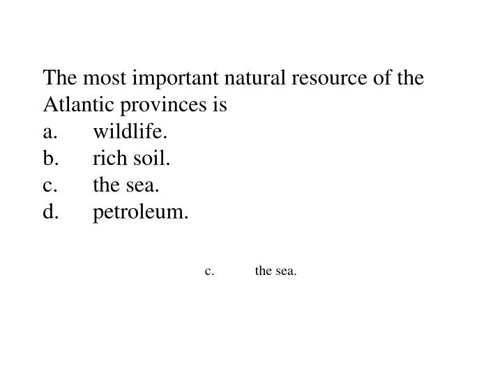 The most important natural resource of the Atlantic provinces is