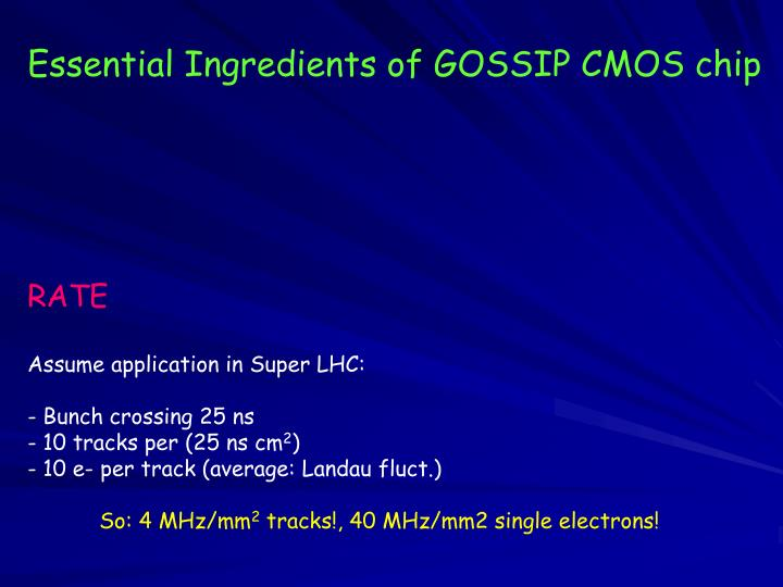 Essential Ingredients of GOSSIP CMOS chip
