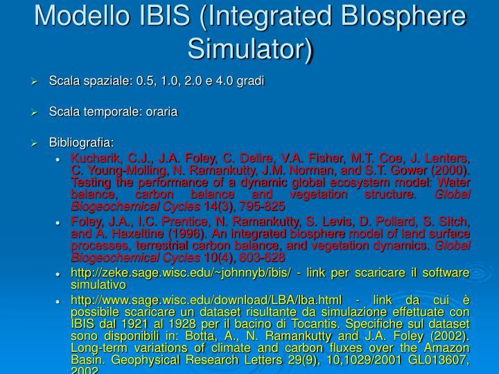 Modello IBIS (Integrated BIosphere Simulator)