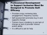 5 professional development to support inclusion must be designed to promote self efficacy