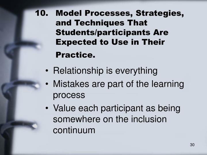 10.	Model Processes, Strategies, 	and Techniques That 	Students/participants Are 	Expected to Use in Their 	Practice.