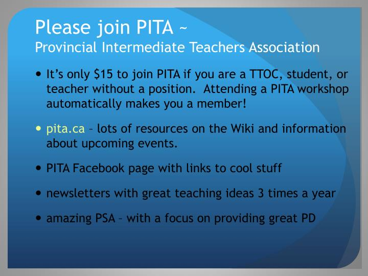 Please join PITA ~