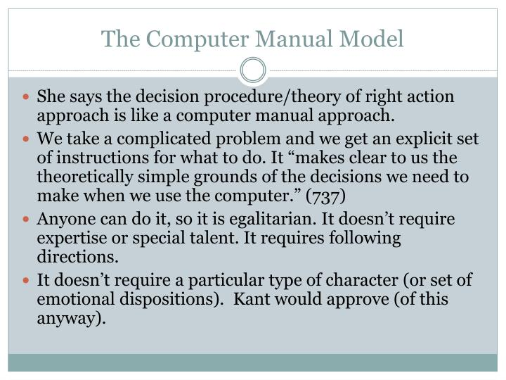 The Computer Manual Model