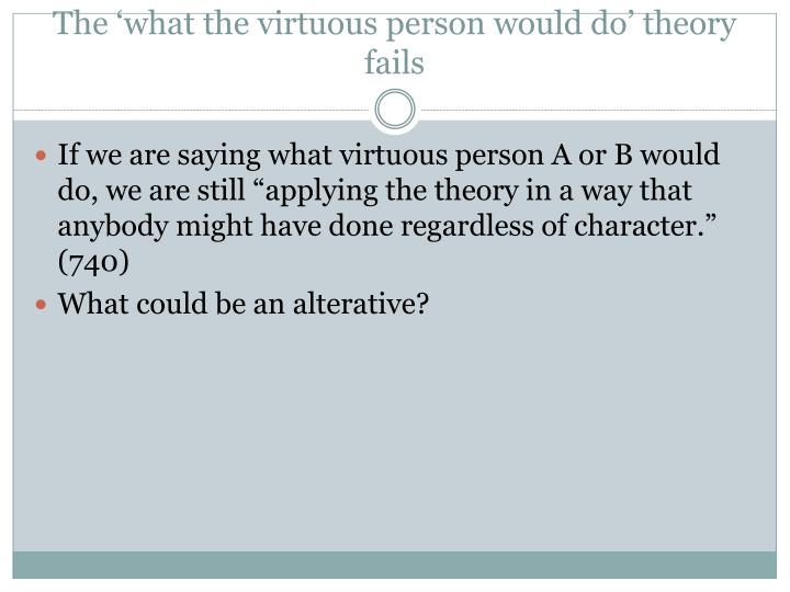 The 'what the virtuous person would do' theory fails