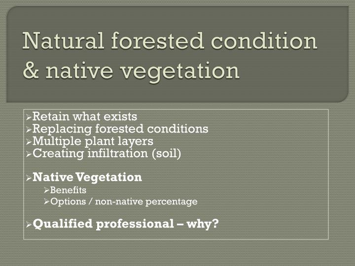 Natural forested condition & native vegetation