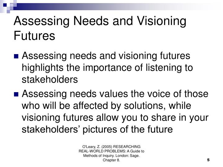 Assessing Needs and Visioning Futures