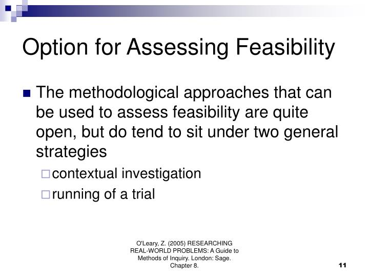 Option for Assessing Feasibility