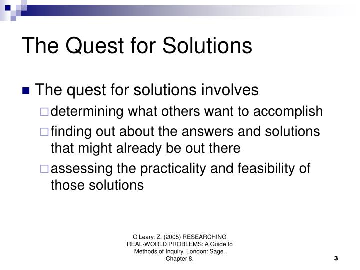 The Quest for Solutions