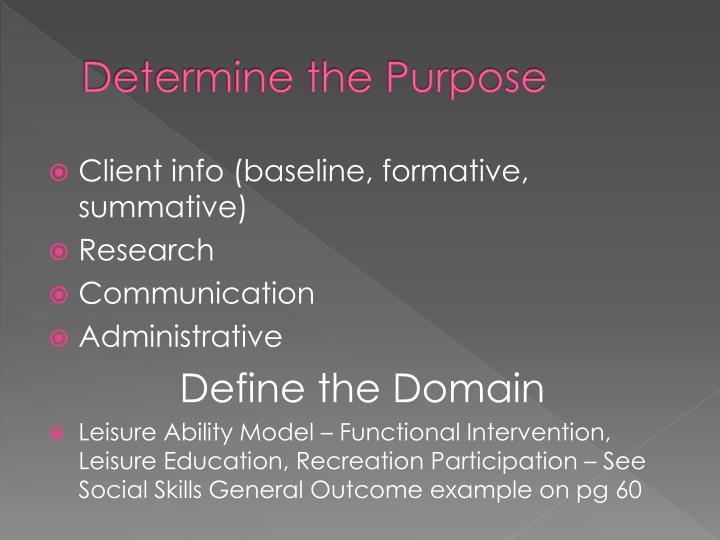 Determine the Purpose