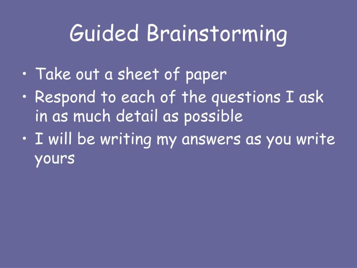 Guided Brainstorming