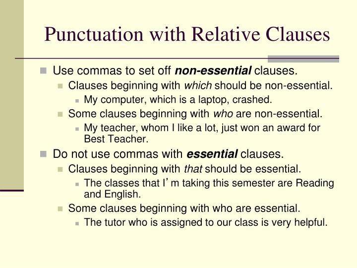 Punctuation with Relative Clauses