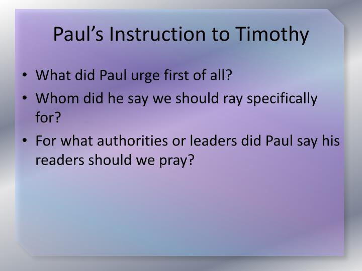 Paul's Instruction to Timothy