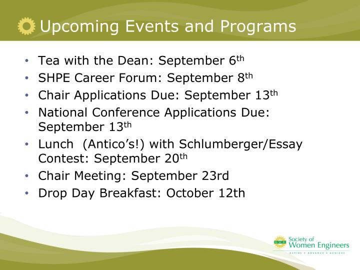 Upcoming Events and Programs