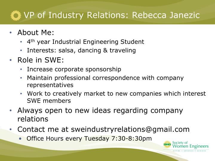 VP of Industry Relations: Rebecca Janezic