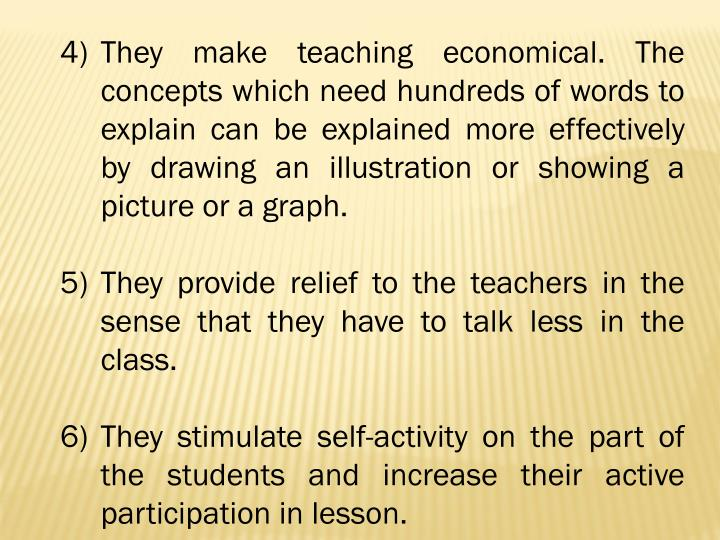 They make teaching economical. The concepts which need hundreds of words to explain can be explained more effectively by drawing an illustration or showing a picture or a graph.