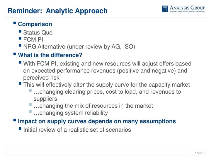 Reminder:  Analytic Approach