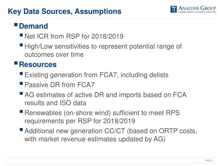 Key Data Sources, Assumptions