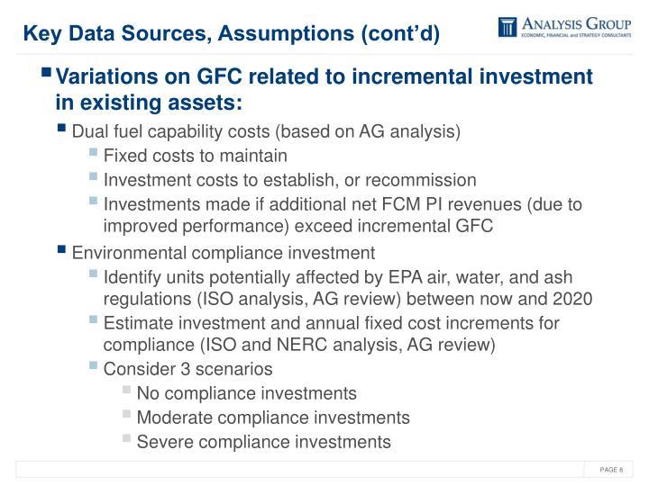 Key Data Sources, Assumptions (cont'd)