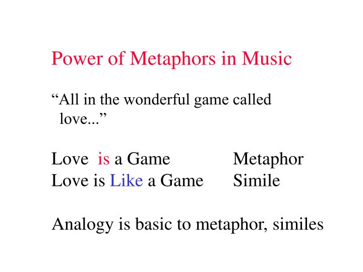 Power of Metaphors in Music