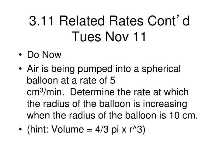 3.11 Related Rates Cont