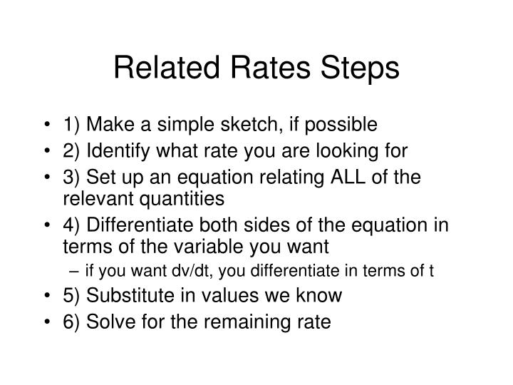 Related Rates Steps