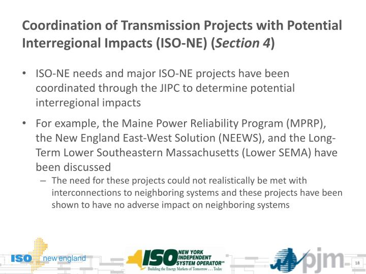 Coordination of Transmission Projects with Potential Interregional Impacts (ISO-NE) (