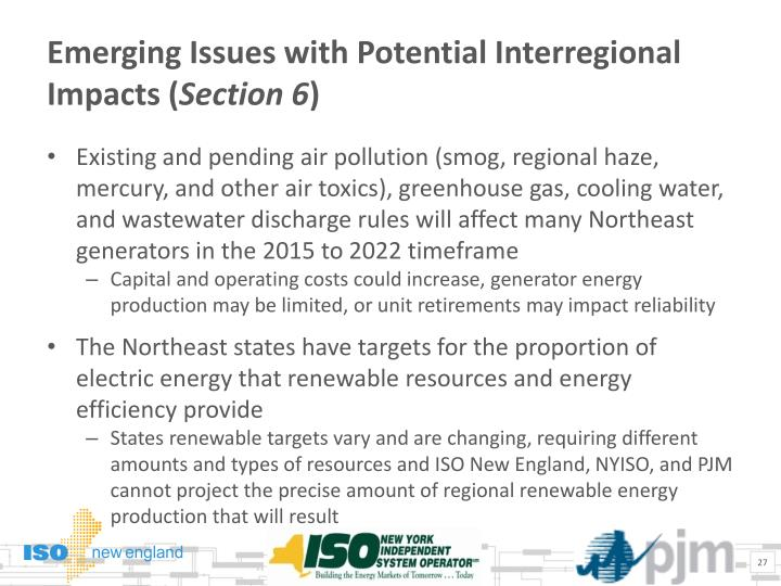 Emerging Issues with Potential Interregional Impacts (