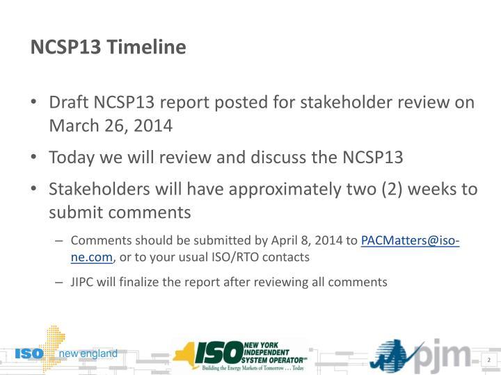 NCSP13 Timeline