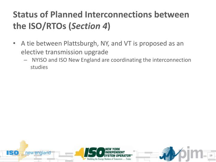 Status of Planned Interconnections between the ISO/RTOs (