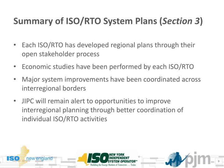 Summary of ISO/RTO System Plans (