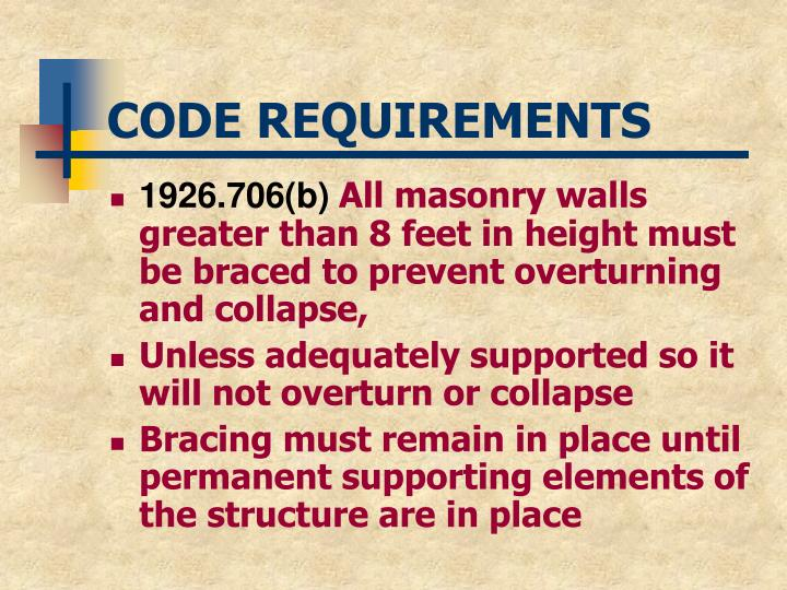 Code requirements