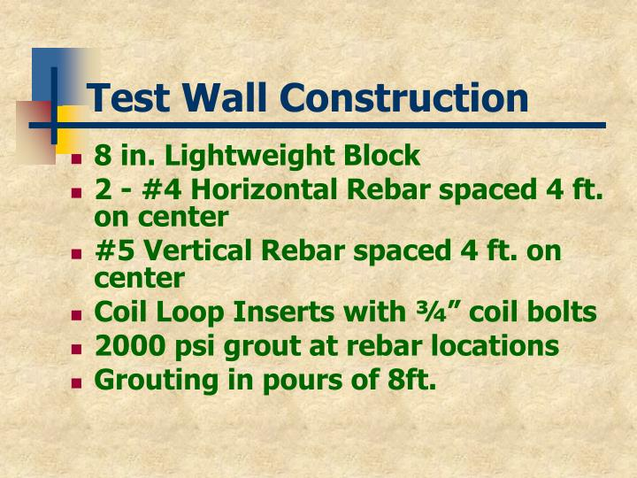 Test Wall Construction