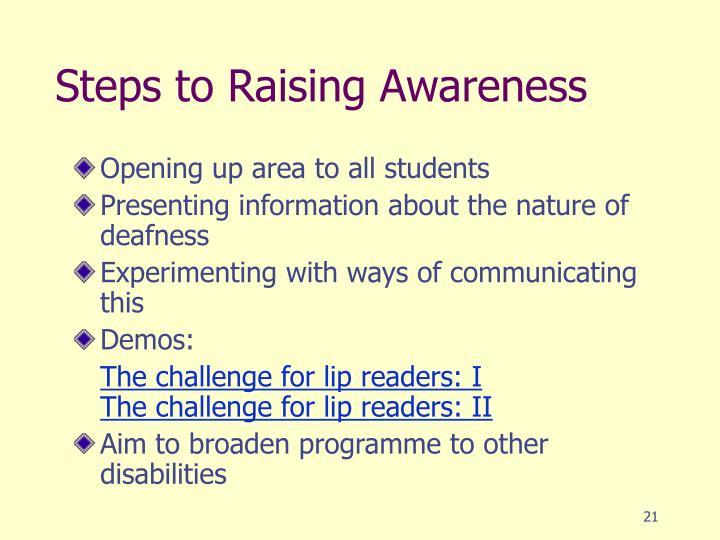 Steps to Raising Awareness