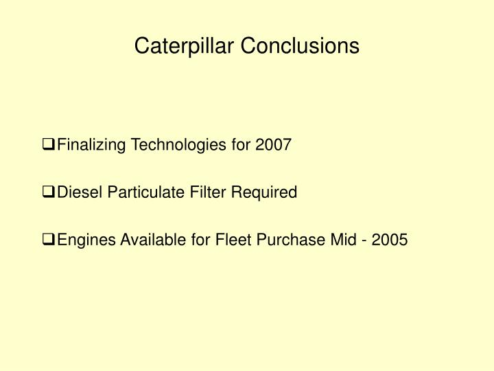 Caterpillar Conclusions