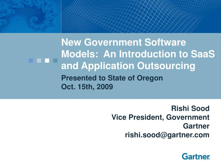 New Government Software Models:  An Introduction to SaaS and Application Outsourcing