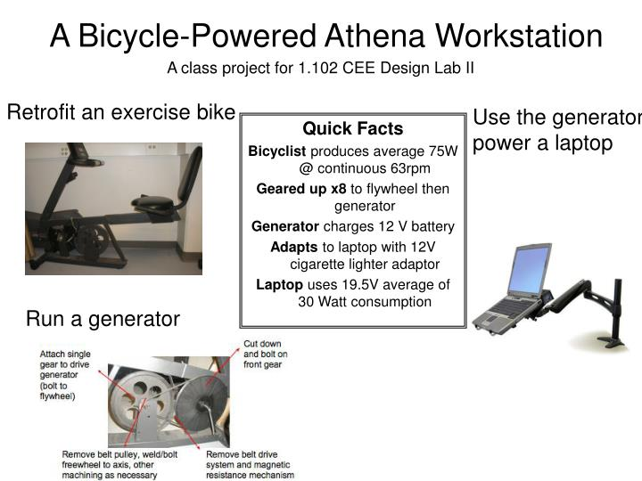 A bicycle powered athena workstation