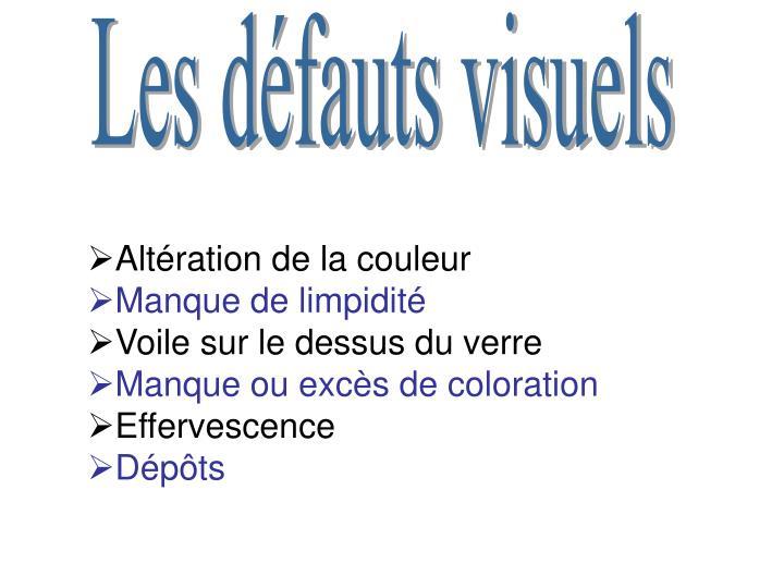 Les défauts visuels